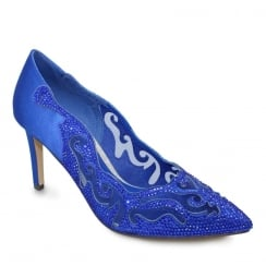 Lunar Arkle Cobalt Blue Occasion Pointed Toe Court Shoe