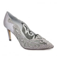 Lunar Arkle Pewter Occasion Pointed Toe Court Shoe