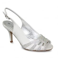 Lunar Cosmic White Peeptoe Sling Back Low Heel