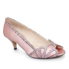 Lunar Dalia Pink Peeptoe Kitten Heel Court