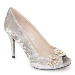 Lunar Ginny Grey Crushed Velvet Peep Toe High Heel Court