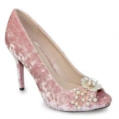 Lunar Ginny Pink Crushed Velvet Peep Toe High Heel Court
