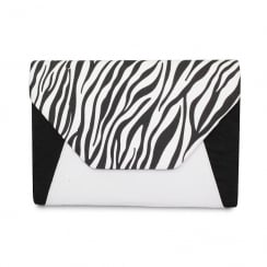 Lunar Corby ZLR411 Black&White Zebra Envelope Clutch Bag