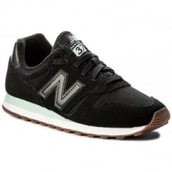 New Balance Womens 373 Black/Mint Suede Sneakers