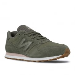 New Balance Womens 373 Khaki/Pink Suede Sneakers