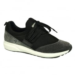 Mustang Womens Slip On Black/Grey Sneaker Shoes