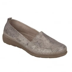 Remonte Ladies Beige Snake Skin Low Wedge Shoe