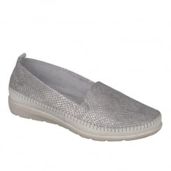 Remonte Ladies Off White/Silver Snake Skin Low Wedge Shoe