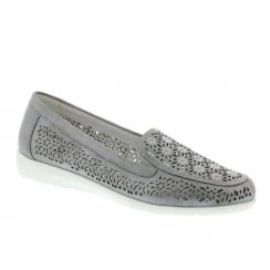 Remonte Ladies Grey Low Wedge Loafer Moccasins