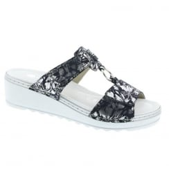 Remonte Ladies Navy/Silver Mid Wedge Comfort Slip On Sandals