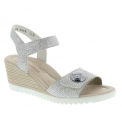 Remonte Ladies Silver Snake Skin Mid Wedge Velcro Sandal D3464-40
