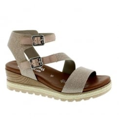 Remonte Ladies Rose Gold Metallic Glitter Buckle Sandals