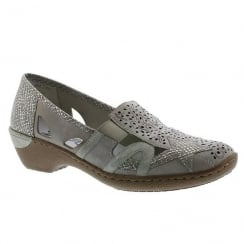 Rieker Ladies Casual Grey Slip On Low Wedge Moccasins
