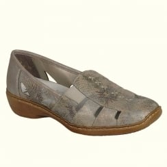 Rieker Ladies Casual Taupe Metallic Slip On Low Wedge Moccasins