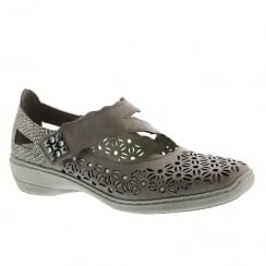 Rieker Ladies Casual Taupe Velcro Strap Shoe