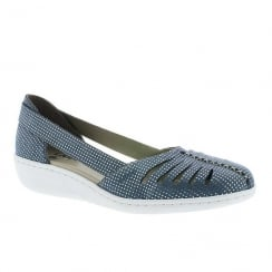 Rieker Ladies Blue/Silver Flat Shoe