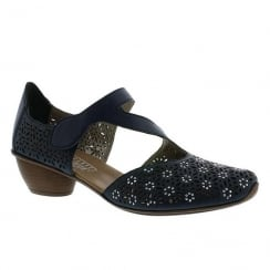 Rieker Ladies Floral Laser Cut Navy Leather Mid Heeled Shoe