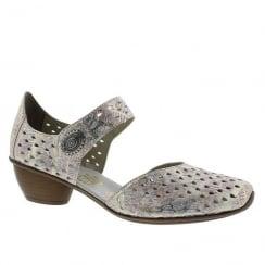 Rieker Ladies Pink/Gold Wooden Mid Heel Mary-Jane Shoe