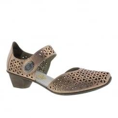 Rieker Ladies Rose Gold Wooden Mid Heel Mary-Jane Shoe