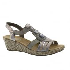 Rieker Ladies Pink/Gold Multi Medallion Design Slip On Wedge Sandals