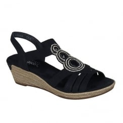 Rieker Ladies Black Medallion Design Slip On Wedge Sandals