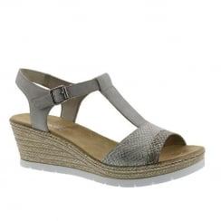 Rieker Ladies Grey Buckle Strap Wedge Sandals
