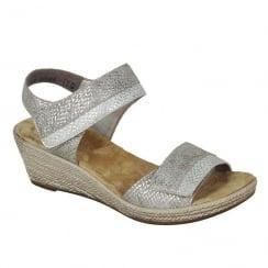 Rieker Ladies Taupe Velcro Wedge Sandals