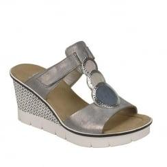 Rieker LadieGrey Slip On Design Wedge Sandals