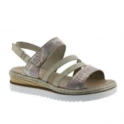 Rieker Ladies Pink/Gold Sling-Back Velcro Flat Sandals