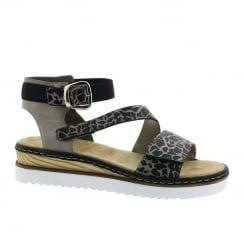 Rieker Ladies Grey Black Animal Ankle Strap Flat Sandals