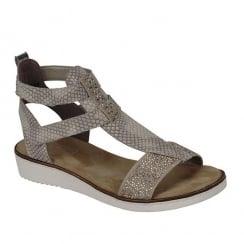 Rieker Ladies Beige Flat Gladiator Style Sandals