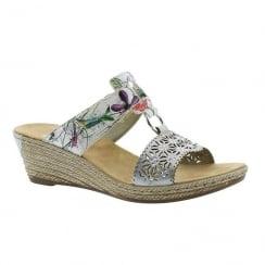 Rieker Ladies White Slip On Floral Design Wedge Sandals