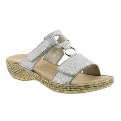 Rieker Ladies Silver Slip On Design Low Wedge Sandals