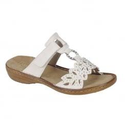 Rieker Ladies White Slip On Design Low Wedge Sandals