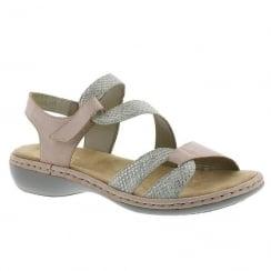 Rieker Ladies Grey Rose Velcro Strap Comfort Sandals