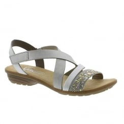 Rieker Ladies Grey Elasticated Strappy Flat Sandals