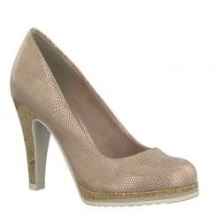 Marco Tozzi Rose Pink Metallic Cork Heel Courts