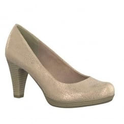 Marco Tozzi Rose Metallic Mid Heel Court Shoe