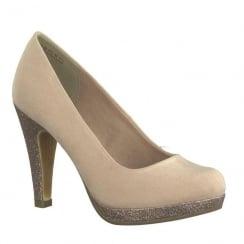 Marco Tozzi Rose Suede Glitter Platform Court High Heels