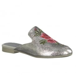 Marco Tozzi Silver Slip On Open Back Loafer Shoes