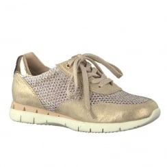 Marco Tozzi Gold Metallic Perforated Sneakers