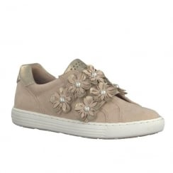 Marco Tozzi Pearl Embellished Floral Decoration Rose Velcro Pumps