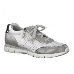 Marco Tozzi White Grey Lace Up Sneakers
