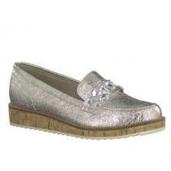 Marco Tozzi Platinum Slip On Wedge Platform Loafers
