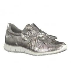 Marco Tozzi Pewter Metallic Flat Slip On Bow Sneakers