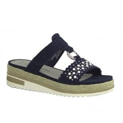 Marco Tozzi Ladies Navy Suede Slip On Low Espadrille Sandals