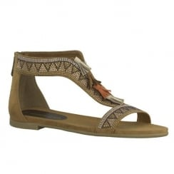 Marco Tozzi Camel Suede Flat Gladiator Style Sandals