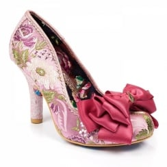 Irregular Choice Ascot Pink Silky Floral Bow Trim Court Heels
