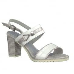 Marco Tozzi White Slingback Strap Block Heeled Sandals