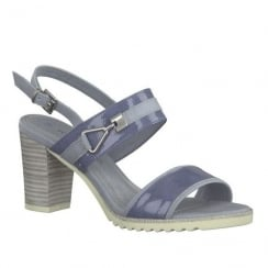Marco Tozzi Blue Slingback Strap Block Heeled Sandals